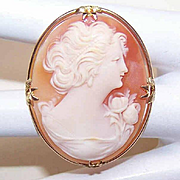 Vintage 10K Gold & Cornelian Shell Cameo Pin/Brooch - Lovely Lady in Profile!