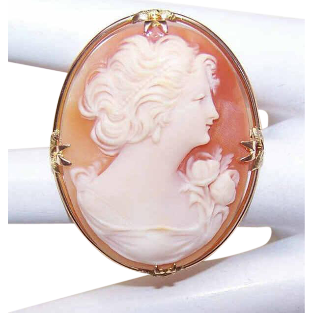 Vintage 10K Gold & Cornelian Shell Cameo Pin/Brooch - Lovely Lady in Profile