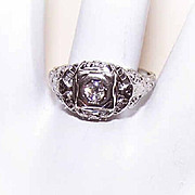 ART DECO 18K Gold & .15CT Diamond Filigree Engagement Ring!