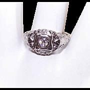 ART DECO 18K Gold & .15CT Diamond Filigree Engagement Ring!