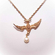 Vintage 14K Gold & Cultured Pearl Pendant - Dove or Swallow (Hirondelle)!