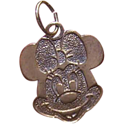 Vintage STERLING SILVER Vermeil (Gold Wash) Charm - Walt Disney's Minnie Mouse!