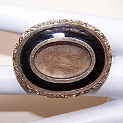 ANTIQUE VICTORIAN 12K Gold & Black Enamel Mourning Pin/Brooch - Dated 1843!