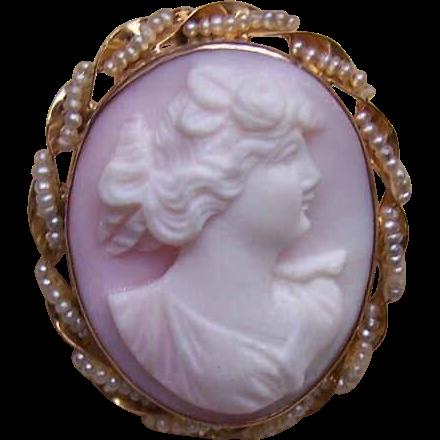 Vintage 10K Gold, Natural Pearl & Pink Shell Cameo Pin/Pendant Combo!