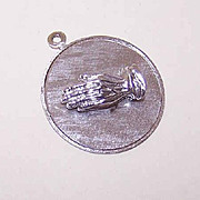 "60s STERLING SILVER Charm - Praying Hands with ""God Grant Me the Serenity"" Poem!"