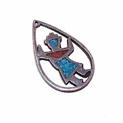 Vintage STERLING SILVER & Turquoise/Coral Inlay Charm/Pendant!