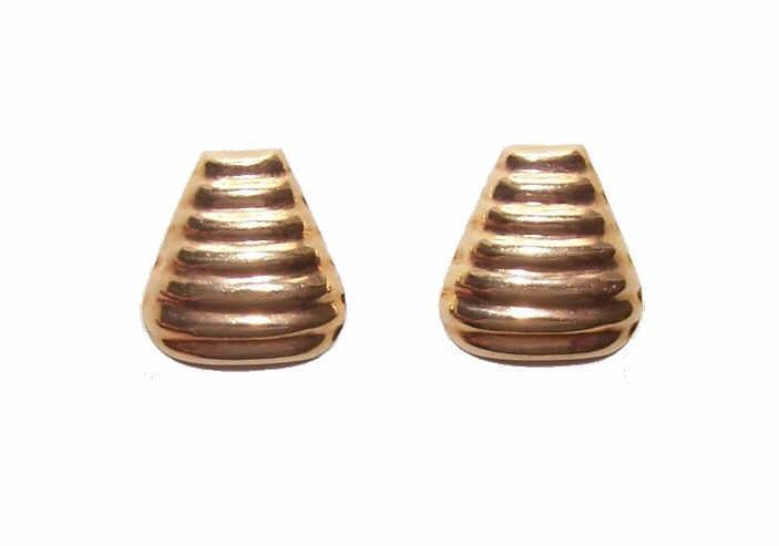 Vintage 18K Gold Pierced Earrings - Ripple Fronts!