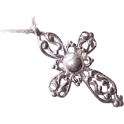 Ornately Designed Vintage STERLING SILVER Cross Pendant!