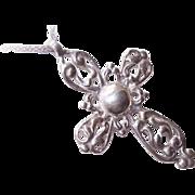 Ornately Designed Vintage STERLING SILVER Cross Pendant!