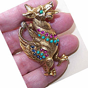 Rare VENDOME Gold Tone Metal & Rhinestone Pin/Brooch - Winged Griffin/Mythical Animal!