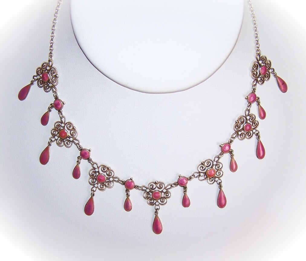 C.1900 MARIUS HAMMER 930 Silver & PINK Enamel Filigree Drop Necklace!