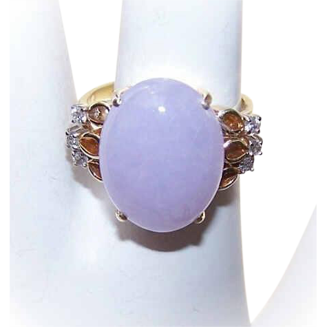 Vintage European 14K Gold, 10CT Lavender Jade & .18CT TW Diamond Cocktail Ring!