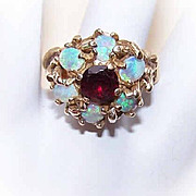 Retro Modern 14K Gold, Opal & Garnet Domed Cocktail Ring!