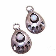 "STERLING SILVER & Opal ""Bear Paw"" Drops - Earrings or Charms!"