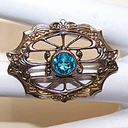 Vintage Gold Tone Metal & Blue Paste Filigree Pin/Brooch!