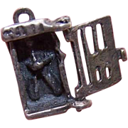 Vintage STERLING SILVER Mechanical Charm - Man in Jail!