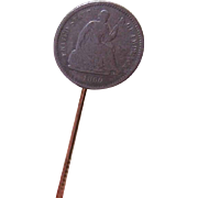 Dated 1860 VICTORIAN American Dime Coin Silver Stick Pin!