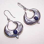 Vintage STERLING SILVER & Lapis Lazuli Drop Earrings by Sudha!
