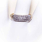 Lovely VINTAGE 14K Gold, Palladium & .28CT TW Diamond Wedding Band!