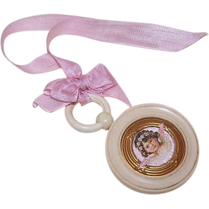 "Upcycled ART DECO French Celluloid ""Guardian Angel"" Medal for Baby!"