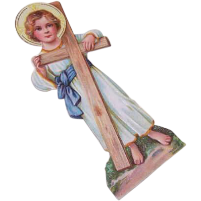 VICTORIAN Die Cut - Child Jesus Holding Cross Stand-Up Card with Easel!