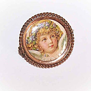 Upcycled VICTORIAN Gold Filled Picture Pin/Brooch - Sweet Angel Front!