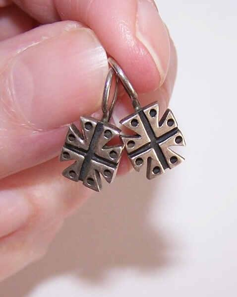 Vintage STERLING SILVER Earrings - Maltese Cross Design!