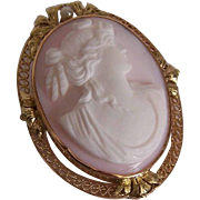 Vintage 14K Gold, Freshwater Pearl & Pink Shell Cameo Pin or Pendant