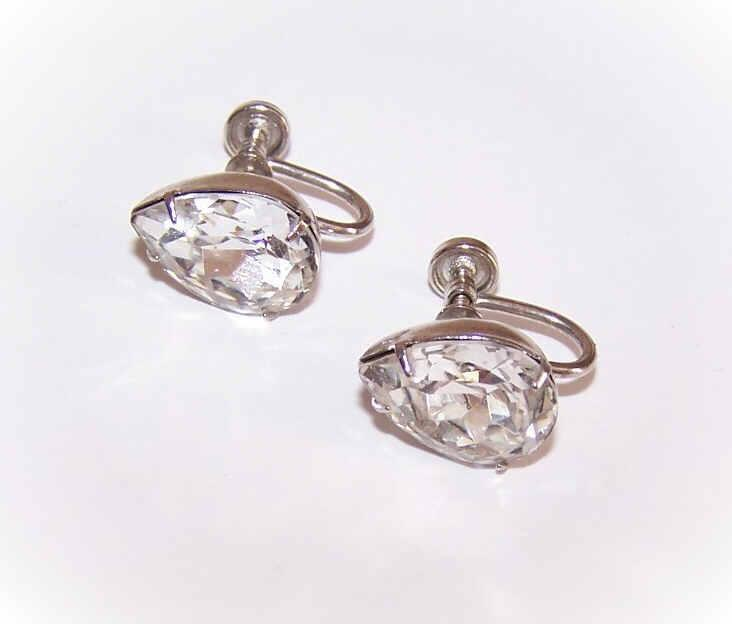1950s STERLING SILVER & Rhinestone Teardrop Earrings!