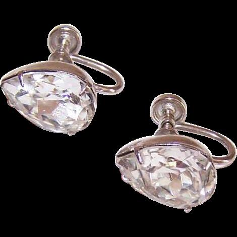 1950s STERLING SILVER & Rhinestone Teardrop Earrings!