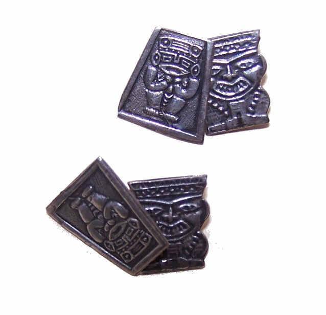 Vintage MEXICAN or PERUVIAN Silver Cufflinks/Cuff Links!