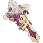 ANTIQUE VICTORIAN Paper Easter Book Mark - Pansies and Violets!