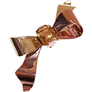 1940s RETRO 14K Gold & 5CT Citrine Watch Pin/Brooch - Shape of a Bow!