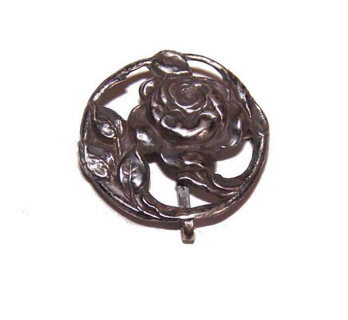ANTIQUE EDWARDIAN Sterling Silver Watch Pin/Brooch with Roses!