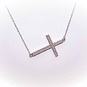 Vintage STERLING SILVER & Diamond Sideways Cross Necklace!