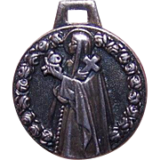 Interesting FRENCH SILVERPLATE Religious Medal/Charm - Saint Theresa