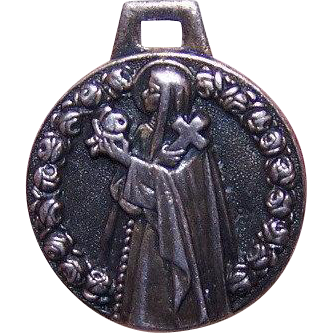 Vintage FRENCH SILVERPLATE Religious Medal/Charm - Saint Therese * St Thérèse of Lisieux!