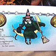 UNUSED Vintage Halloween Postcard Featuring a Witch, Black Cat & Pumpkins!