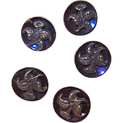 Set of 5 ANTIQUE VICTORIAN Iridescent Background & Brass Floral Buttons!