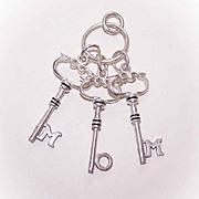 Vintage STERLING SILVER Pendant - 3 Keys to Spell MOM!