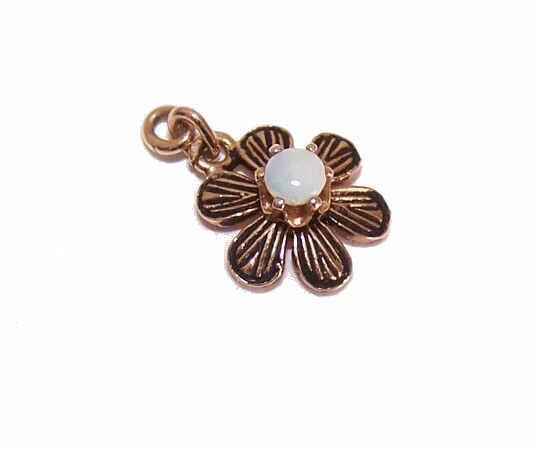 Dainty 14K GOLD, Enamel & Opal Pendant or Charm - A Simple Daisy!