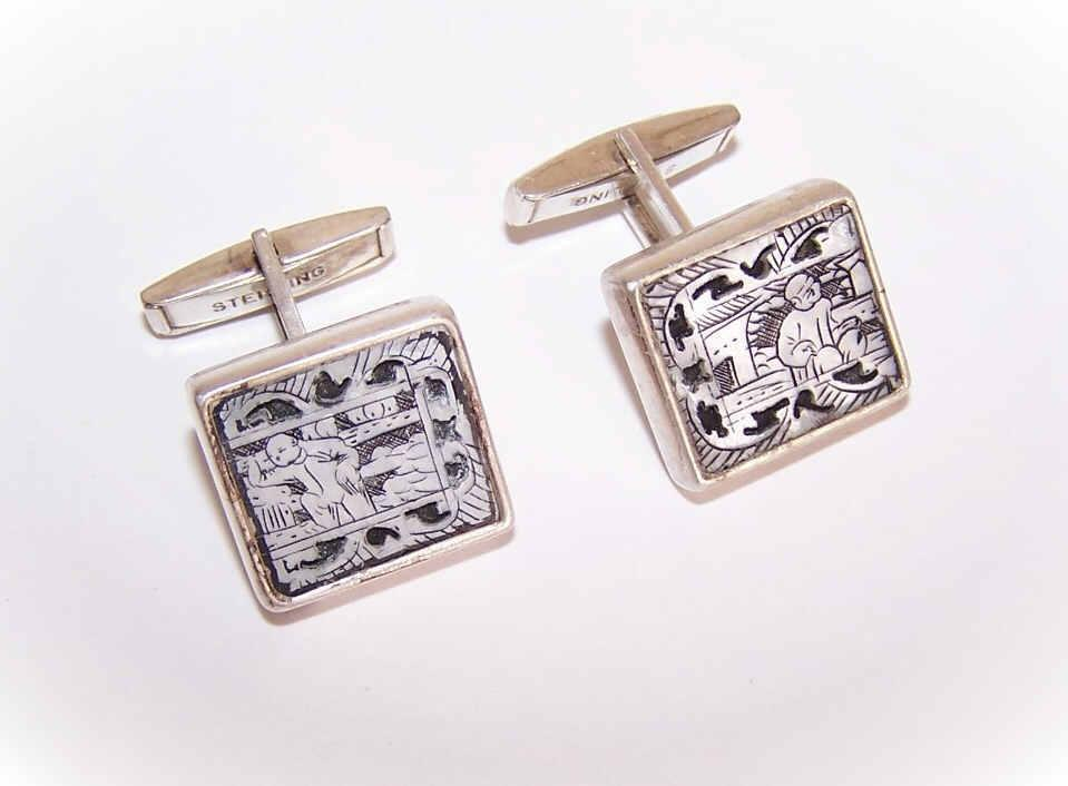 C.1950 STERLING SILVER & Mother of Pearl Cufflinks - Asian Gentleman Fronts!
