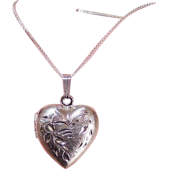 Vintage STERLING SILVER Locket Pendant - Heart with Etched Design!