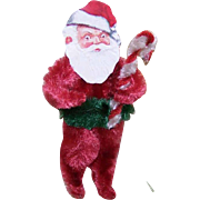 Vintage CHRISTMAS Chenille Ornament - Santa Claus with Candy Cane!
