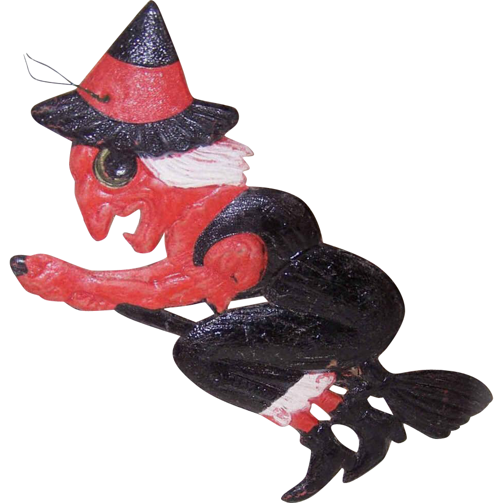 "C.1940 German HALLOWEEN Pressed Paper ""Witch on a Broomstick"" Ornament/Decoration!"
