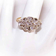 Lovely ART DECO 14K Gold & .10CT TW Diamond Cocktail Ring!