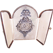 C.1900 FRENCH SILVER Travel Icon -  Behold The Bread of Angels - Original Case!