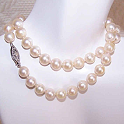 Vintage 7.5mm Golden Cream CULTURED PEARL Necklace with 14K Gold Clasp!