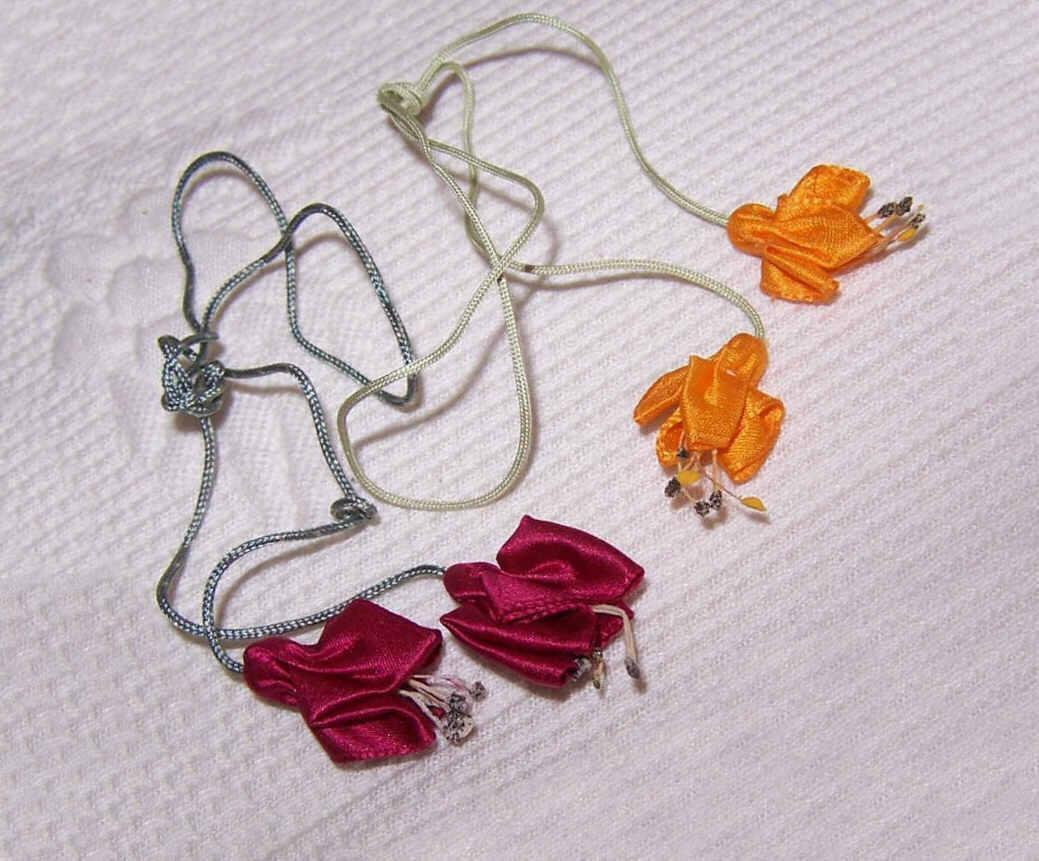 Pair C.1940 Handmade Ribbon Floral Appliques - Fuschias!