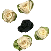 5 AMERICAN Hand Made BUTTER YELLOW & Black Silk Ribbon Floral Applique/Embellishment!